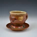 sweet cup and saucer with gold luster -  8 ounces
