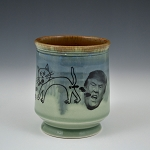 Barfin' & Poopin' cat with Trump mug - celadon - 10 ounces