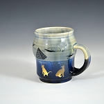Cosmic cats mug with gold luster cat decals - 10 ounces