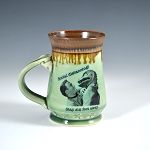 Kirk and Spock's Social Distancing Alert! Mug - green with brown and gold lip