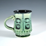 Social Distancing Mug #3 - social distancing with black and green glaze + VOTE message