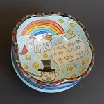 Abe Lincoln heard the wisdom of the unicorn wind! - art bowl - ONE OF A KIND.