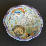 Bob Ross channeled the power of the unicorn! - art bowl - ONE OF A KIND.
