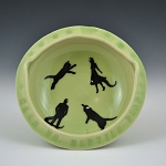 Cats vs. Reptile People bowl #1 - slightly flawed - 4.5 inch diameter