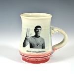 Kirk and Spock's Social Distancing Alert! Mug - blue with flashy red bottom