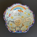 Albert Einstein got all his thoughts from a magical unicorn! - art bowl - ONE OF A KIND.