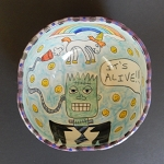 Frankenstein came alive when the unicorn farted! - art bowl - ONE OF A KIND.