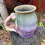 Sumptuous green and purple mug