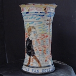 Noah Van Sciver self-portrait vase - porcelain - 9.5 inches tall
