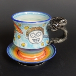 Farting Unicorn & Rainbow cup and saucer - ONE OF A KIND.