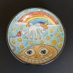 The farting unicorn has my ear! - art bowl - ONE OF A KIND.