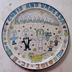Custom 12 inch platter with decorated rim - PLEASE ALLOW 2 - 4 WEEKS FOR DELIVERY