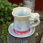 Thrown and Altered cup and saucer set - 12 ounces