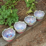 Set of 4 pastel bowls - 5 inch diameter