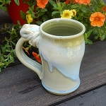 drippy white and green mug - 10 ounces