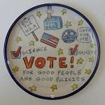 VOTE! plate - 8 inches in diameter
