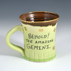 """Behold! The Amazing Gemini"" mug with gold luster - 10 ounces"