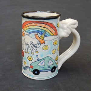 """Farting Unicorn"" electric car magic mug 1.0 (with green car)"