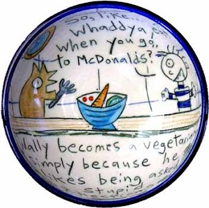 Wally becomes a vegetarian - bowl