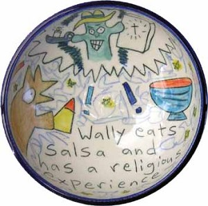 Wally eats salsa and has a religious experience - bowl