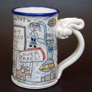 Wally joins The Tea Party to avoid getting eaten by space aliens - mug