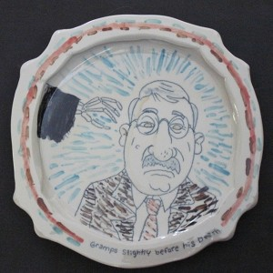 """Gramps slightly before his death"" - porcelain plate - 10 inch diameter"