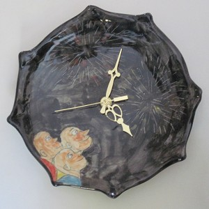 """Fireworks"" clock - porcelain - 8.5 inches in diameter"