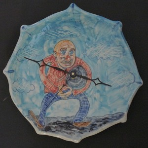"""Man with a Clock"" clock - porcelain - 8.5 inches in diameter"