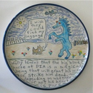 Wally learns that the big blue horse at DIA is a magical being - salad plate
