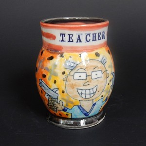 """Pistol Packin' Teacher"" art mug (MALE) - ONE OF A KIND"