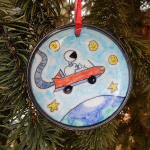 Tesla In Space Christmas ornament