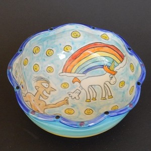 The creation of Adam by a unicorn fart! - art bowl - ONE OF A KIND.