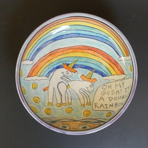Unicorns Making Love Under A Double Rainbow! - art bowl - ONE OF A KIND.