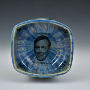 John Hickenlooper fights lizard people bowl - 5 inch diameter