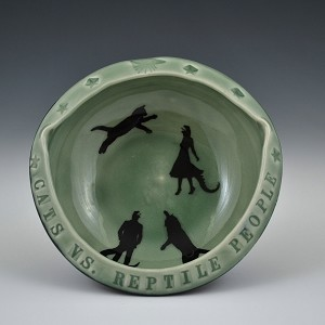 """Cats vs. Reptile People"" bowl - 4.5 inch diameter"