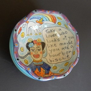 Frida and the unicorn! - art bowl - LIMITED EDITION