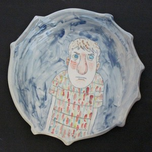 """Boy escaping the colors on his shirt"" - 2 dinner plates - 10 inches in diameter - porcelain"