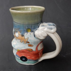 """Did I ever tell you about the time my dog pooped on my neighbor's car?"" - art mug"