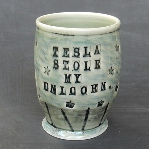 Tesla Stole My Unicorn - 8 oz. celadon wine sipper