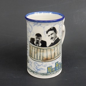 """Tesla takes Neil Degrasse Tyson for a spin in his flying hot tub"" mug - 10 ounces"