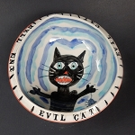 Evil Cat - bowl - ONE (1) IN STOCK.