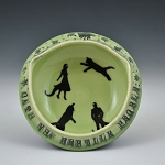 Cats vs. Reptile People bowl #2 - slightly flawed - 4.5 inch diameter