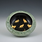 UFOs and gold cats bowl - 4.5 inch diameter - ONE OF A KIND!