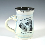 Kirk and Spock's Social Distancing Alert! Mug - blue - GOES ON SALE AT 8 A.M. THURSDAY, FEB. 25. - ONE (1) IN STOCK