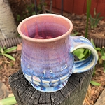 Trippy drippy blue and pink mug
