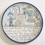 Wally joins The Tea Party to avoid being eaten by space monsters - salad plate  -  OUT OF STOCK - SHIPS ON 11/8/20