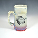 Barfin' and Poopin' on Trump beer stein - blue and red - ONE OF A KIND!